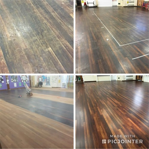 School floor before during and after sanding